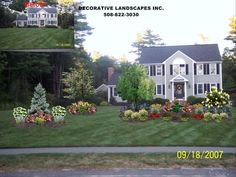 Large flower bed for front yard. Evergreen, shrubs, flowers