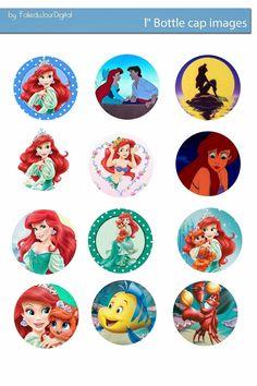 Free Bottle Cap Images: Ariel the Little Mermaid digital bottlecap images free instant download - disney
