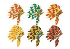 Indian Headdress Set Vector