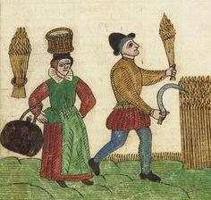Peasants harvesting grain. Trevilian Miscellaney, 1602