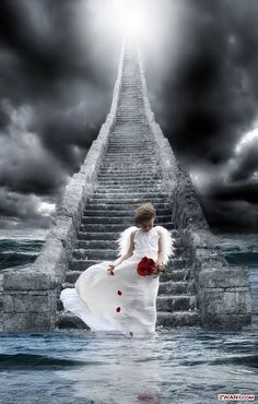 Heaven so wonderful , there is a stair case where there are Angela going up and down from heaven to earth on it