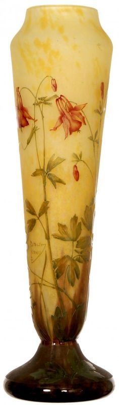 """fANTASTIC 16"""" SIGNED DAUM NANCY FRENCH CAMEO ART GLASS VASE: YELLOW BACKGROUND WITH FLORAL CUT BACK DESIGN"""