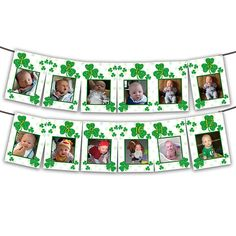 This is a great way to show off your irish babys first year at their St. Patricks Day 1st birthday! This banner is big enough to easily see the photos, and adds a great decor to your shamrock Birthday party. Polka dots and faux green glitter shamrocks, very trendy for your birthday