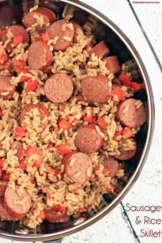 An easy Sausage and Rice Skillet Recipe perfect for those weekday nights. Easy Sausage and Rice Skillet recipe perfect for dinnertime. Pork Recipes, Cooking Recipes, Healthy Recipes, Rice Recipes, Delicious Recipes, Pizza Recipes, Savoury Recipes, Cooking Gadgets, Meal Recipes