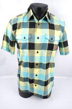 a73a1d212f Vans Off The Wall Button Front SS Plaid Checkered Shirt Men s Adult Medium ( M)