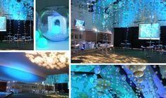 Under The Sea!  Lighting and repetition create the impact for this look.  The colour palette chosen for this event really lent itself to an underwater vibe. Our client requested plenty of room for guests to mingle and dance so we utilised the space overhead to create a floating canopy of balloons. Colour, dimension and life were brought to look through the wonderful lighting which mimicked the 1036 floating balloon bubbles.