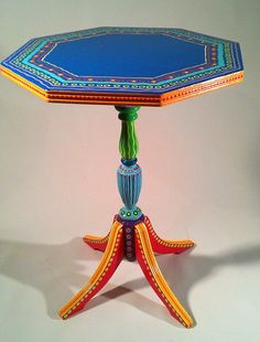 Hand Painted Furniture Vintage Colorful Table by LisaFrick on Etsy Whimsical Painted Furniture, Hand Painted Furniture, Funky Furniture, Paint Furniture, Handmade Furniture, Repurposed Furniture, Rustic Furniture, Furniture Makeover, Vintage Furniture