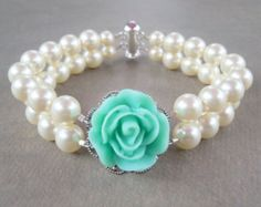 something blue double strand pearl bracelet