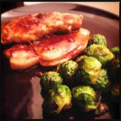Pork chops with apricot glaze and roasted brussels sprouts. #glutenfree #dairyfree