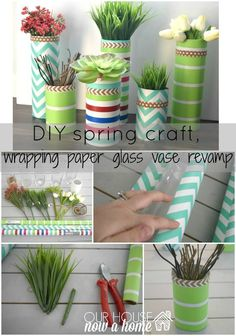 DIY spring craft with title, simple vase revamp with title. Decorating for spring with silk flowers, succulents, and glass vases. All that was needed for this upcycle was wrapping paper! A simple DIY craft for the home!