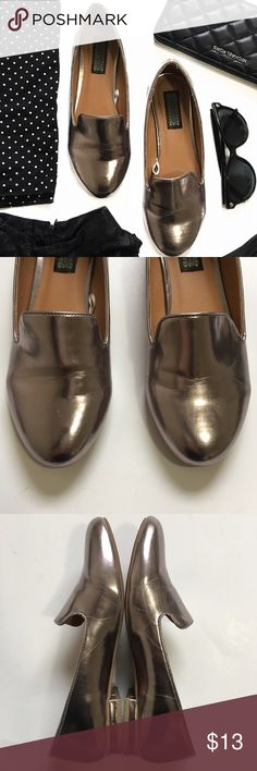 Deena & Ozzy Pewter Loafer Flats Have been worn a few times. They have some creases and scratches (as seen in pictures). Run true to size. Brand is Deena & Ozzy but purchased at UO. Urban Outfitters Shoes Flats & Loafers
