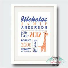 Giraffe Birth Stat Nursery Print $27.00 spunkandheart.com #wallart #nursery #interiornurserydesign #nurserydesign