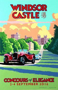 Windsor Castle Poster Vintage Travel Posters, Vintage Ads, Vintage Graphic, Car Posters, Graphic Posters, Retro Posters, German Soldiers Ww2, Car Illustration, Windsor Castle