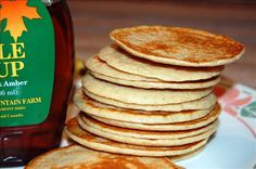 Oatmeal Cottage Cheese Pancakes:   1/2 cup oatmeal  1/2 cup cottage cheese  1 teaspoon vanilla  4 egg whites  Put everything in blender and grill it.