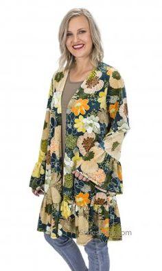 a1732ae882ba7e Amaris Retro Oversized Velvet Kimono Ruffle Hems Wormwood Shirt Extender,  Ladies Poncho, Summer Blouses