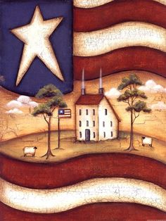 Posterazzi God Bless America Canvas Art - Kim Lewis x Painted Slate, Tole Painting Patterns, Barn Art, Tile Crafts, Chicken Art, Spring Painting, Unusual Art, God Bless America, Doodle Art