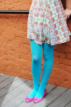 tabbisocks opaque color tights in turquoise - Collants Opaques Colors