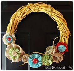 My wreath needs some color.  This is cute.