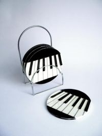 Set of 4 Ceramic Coasters With Stand: Keyboard Design. £14.99