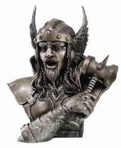 Norse God of Thunder Thor Bust Statue Son of Odin Hammer Norse Viking Mythology