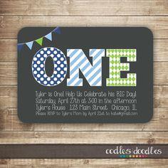 1st Birthday Invitation / 1st, 2nd, 3rd Boys Birthday Invitation / First Birthday Blue & Green Invitation  - Printable. $15.00, via Etsy.