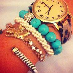 Stack: Leopard watch: Timex (Piperlime Rachel Zoe pick); Pearl & Turquoise bracelet: Etsy; Elephant: Francesca's; Cuff: David Yurman