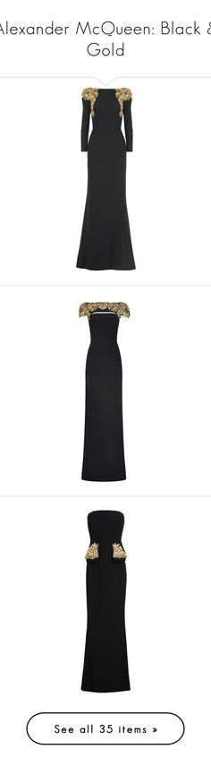 """""""Alexander McQueen: Black & Gold"""" by missgwengigi ❤ liked on Polyvore featuring dresses, gowns, vestidos, long dresses, alexander mcqueen, black, alexander mcqueen gowns, drape dress, open back dresses and embroidery dresses"""