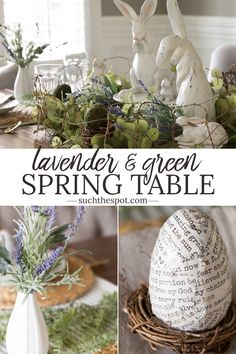 This sage green and lavender spring table is perfect for a seasonal or holiday brunch or dinner with friends. This easy to replicate centerpiece and place setting ideas are inexpensive and simple. #Easter #spring #tablescape #entertaining