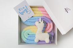 Baby boy unicorn rainbow shower gift with striped baby blanket   Etsy