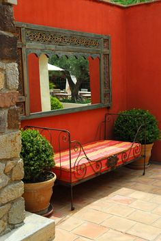 Remember your travels in your garden? (courtyard garden seating) love the colour of the wall Outdoor Rooms, Outdoor Living, Outdoor Decor, Outdoor Patios, Mexican Patio, Spanish Courtyard, Outdoor Mirror, Gazebos, Hacienda Style