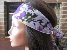 Bohemian Floral headband Purple Reversible head wrap by myfashioncreations, $11.99