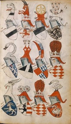 "nihtegale: ""Ornate helmets and heraldry, century "" Crests, 15th Century, Coat Of Arms, Middle Ages, Helmets, Enchanted, Rooster, Medieval, Romantic"