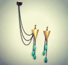 ear cuff earrings arrow head earrings turquoise by alapopjewelry, $29.00