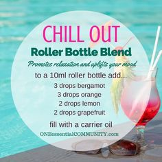 """""""chill out"""" roller bottle blend promotes relaxatio and uplifts your mood-- plus free printable and labels for 21 essential oil roller bottle blend recipes Helichrysum Essential Oil, Doterra Essential Oils, Doterra Oil, Yl Oils, Essential Oil Diffuser Blends, Essential Oil Uses, Roller Bottle Recipes, Printable Labels, Free Printable"""