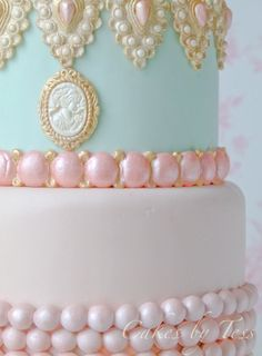 Marie Antoinette cake. Love the color and the bling.