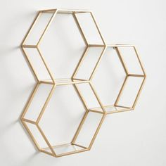 May 2020 - 3 Honeycomb Hexagon Wall Shelf Display Matte Gold Finish Metal & Glass Hexagon Wall Shelf, Honeycomb Shelves, Shelf Wall, Bathroom Wall Shelves, Metal Design, Modern Design, Gold Shelves, Glass Shelves Kitchen, Glass Wall Shelves