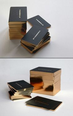 High-end Business Card Design with golden edge printing by Ashley Karr via Behance....WOW i would love having this as my business cards