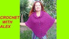 TUTORIAL CROCHET PONCHO shell stitch and fur collar EASY DIY