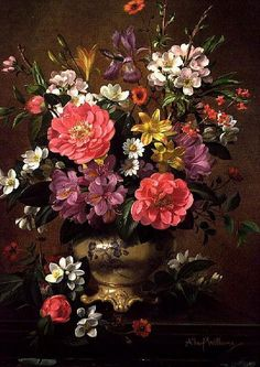 Blossom, Iris and Peonies ~ By Albert Williams...I have this painting in my bedroom <3