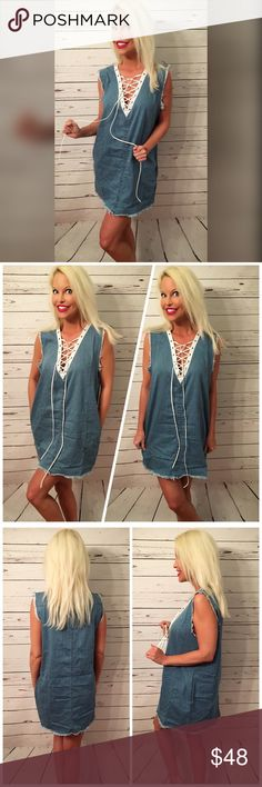 NWT Missguided raw edge lace up Denim pocket dress Adorable with side pockets a raw edge for a grunge aesthetic- lace up top in white perfect for summer! Oversized fit Missguided Dresses