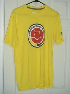 2c8c4032a Columbia National Football Soccer Team Adidas Yellow Men s T- Shirt Large  Used  adidas
