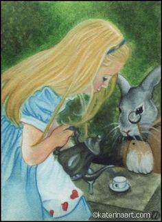 Alice in Wonderland ACEO, Katerina Art ,Fantasy and Portraiture art by Katerina Art,The beautiful pencil art by Katerina Koukiotis