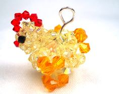 Chicken Charm Swarovksi Crystals by SmileykitCreations on Etsy, $16.00
