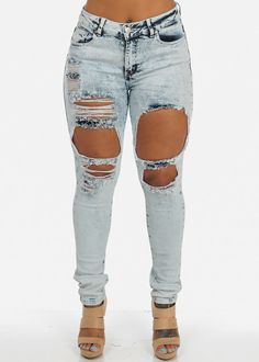 High Rise Plus Sized Skinny Jeans with Ripped Patches (Light Acid Wash)
