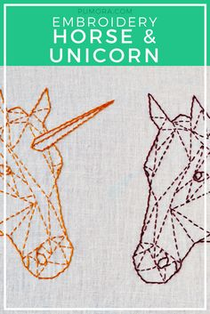 contemporary embroidery pattern horse & unicorn