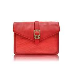 woven clutch in red