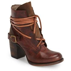 "Freebird by Steven 'Billy' Ankle Boot, 3 1/2"" heel ($275) ❤ liked on Polyvore featuring shoes, boots, ankle booties, ankle boots, cognac leather, short boots, high heel boots, lace up ankle boots, lace up boots and leather booties"