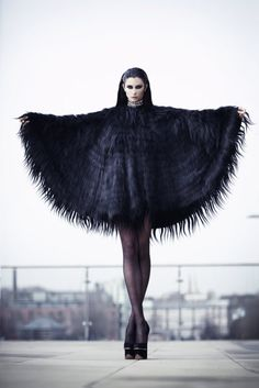 Poncho dress gothic goth black halloween lace circle bat