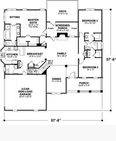 images about Floor Plans on Pinterest   Ranch House Plans    First Floor Plan of Ranch House Plan Would add private porch to master suite