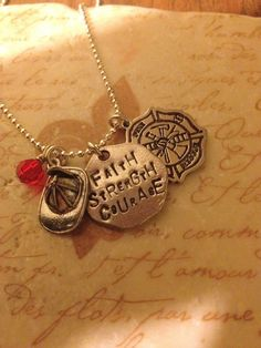 Faith.Strength.Courage -Firefighter Hand Stamped Necklace. $24.00, via Etsy.